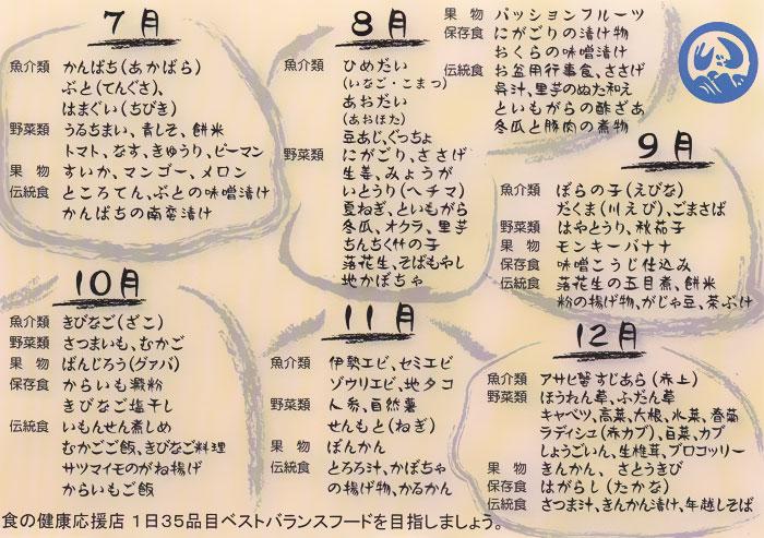 食材カレンダー